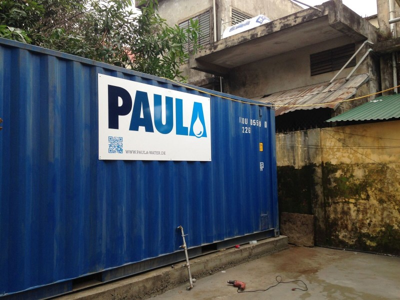The container on its final position