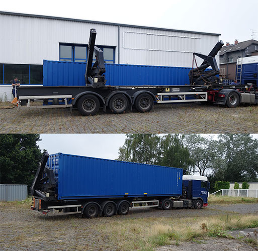 05.08.2016 – Verladung und Abstransport des Containers auf dem Bauhof in Viersen