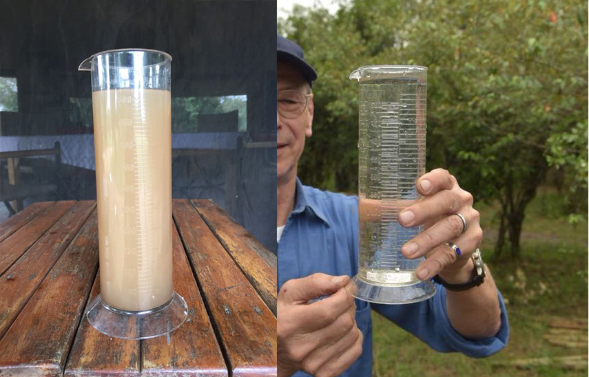 What a difference! Water before and after passing the PAULA-system.