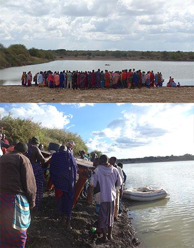 09.12.2016 – Das Ponton mit der Pumpe muss im See platziert werden. Das ganze Dorf hilft!